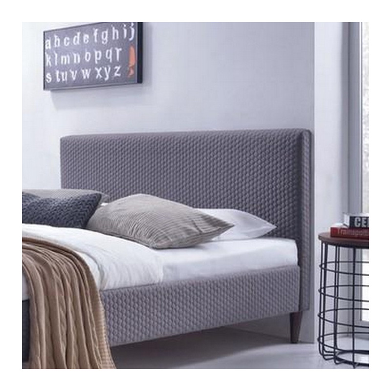 lit gris en tissu sommier 160 x 200cm alfa. Black Bedroom Furniture Sets. Home Design Ideas
