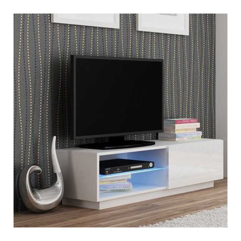 meuble tv blanc avec led 120x38cm boston. Black Bedroom Furniture Sets. Home Design Ideas