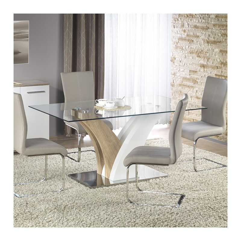 Awesome table a manger blanche et bois contemporary for Table de salle a manger 200 cm