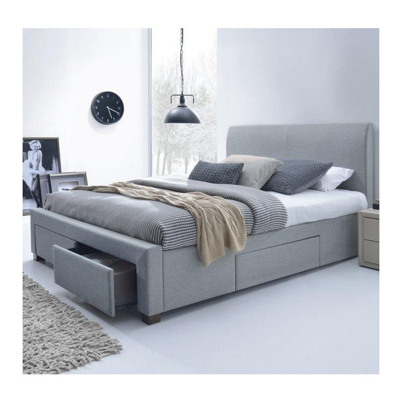 lit moderne gris 160 x 200cm avec sommier moreno. Black Bedroom Furniture Sets. Home Design Ideas