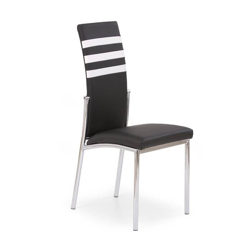 Chaise design en simili cuir noir et blanc reina for Chaise simili cuir
