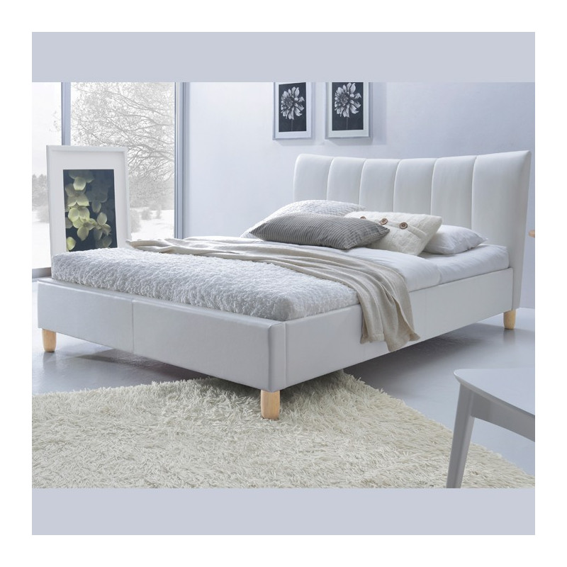 lit design simili cuir blanc 160 200 sandie. Black Bedroom Furniture Sets. Home Design Ideas