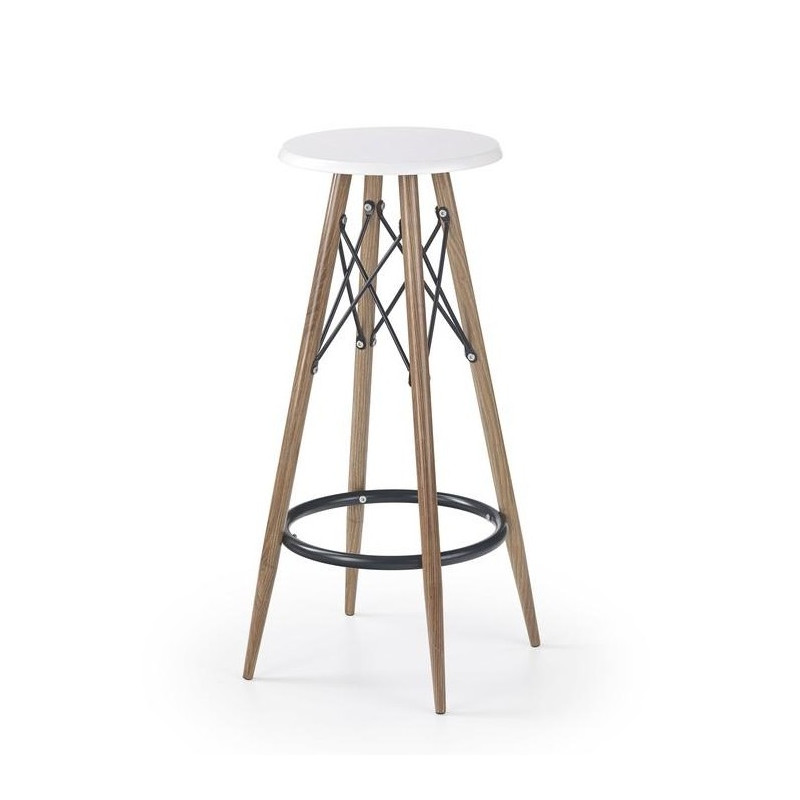 tabouret de bar blanc m tal et bois. Black Bedroom Furniture Sets. Home Design Ideas