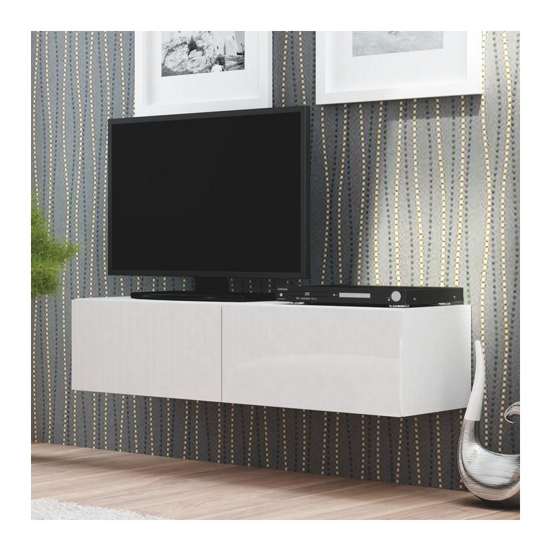 Meuble t l blanc suspendu 160x40cm casa for Meuble tv blanc suspendu