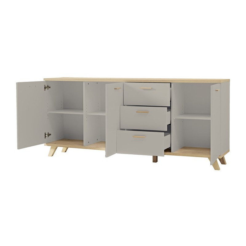 buffet long gris scandinave elsborg so inside. Black Bedroom Furniture Sets. Home Design Ideas