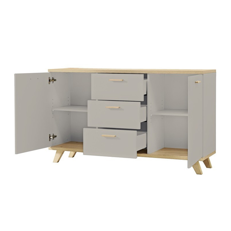buffet scandinave gris et bois 2 portes 3 tiroirs elsborg. Black Bedroom Furniture Sets. Home Design Ideas