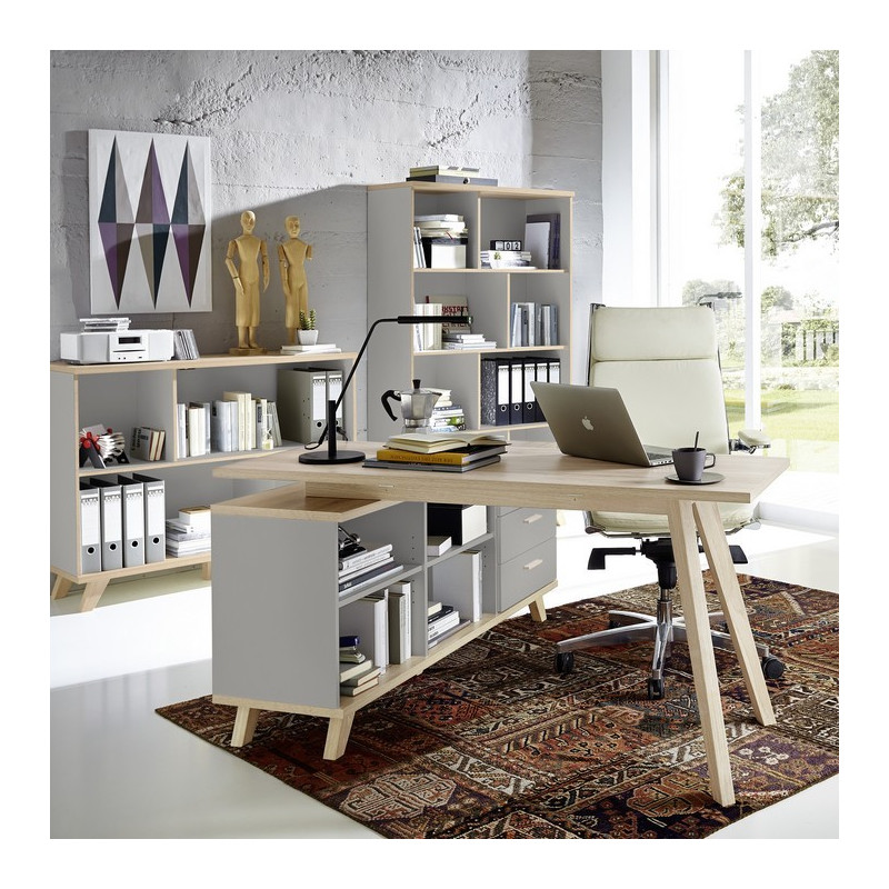 bureau d 39 angle scandinave gris elsborg so inside. Black Bedroom Furniture Sets. Home Design Ideas