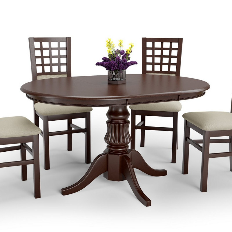 table ronde extensible style noyer avec pied central walsor