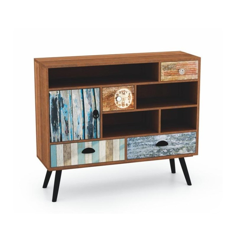 buffet bahut commode industriel multicolore alto. Black Bedroom Furniture Sets. Home Design Ideas