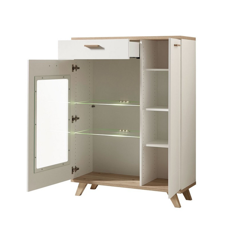 vitrine scandinave blanche et bois avec led tiroir et porte malmo. Black Bedroom Furniture Sets. Home Design Ideas