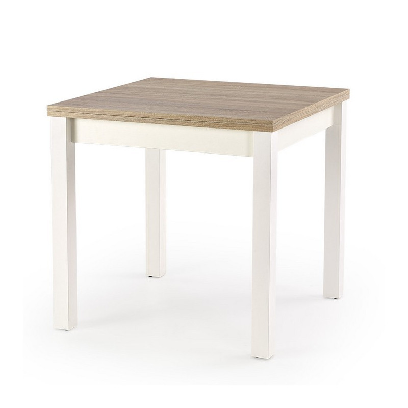 Table carr e bois et blanc avec rallonge salta for Table khi carre