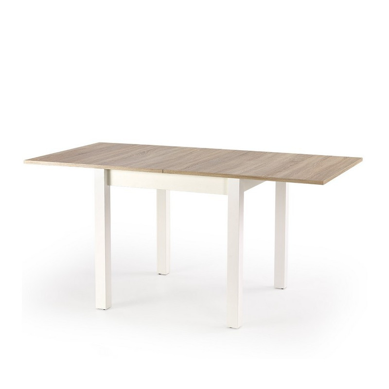 table carr e bois et blanc avec rallonge salta. Black Bedroom Furniture Sets. Home Design Ideas