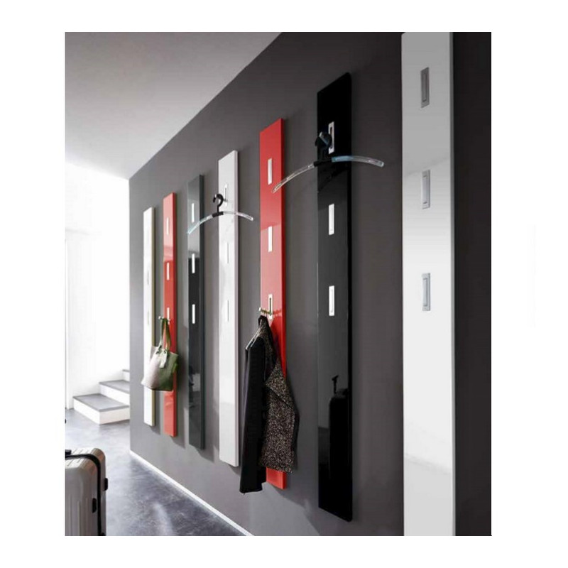 Porte manteau mural laque design rouge noir blanc alti for Porte manteau design