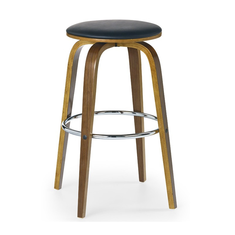 tabouret de bar rond bois et noir west. Black Bedroom Furniture Sets. Home Design Ideas
