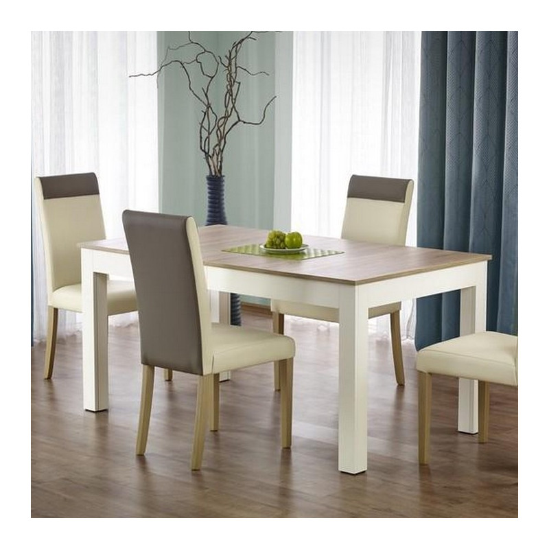 table salle a manger 160 300 90 76cm bois blanc avec rallonge melino. Black Bedroom Furniture Sets. Home Design Ideas