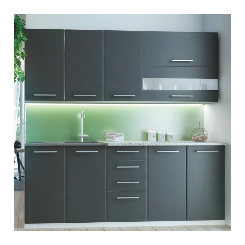 cuisine grise moderne 6 pi ces 200cm profondeur 60cm roma. Black Bedroom Furniture Sets. Home Design Ideas