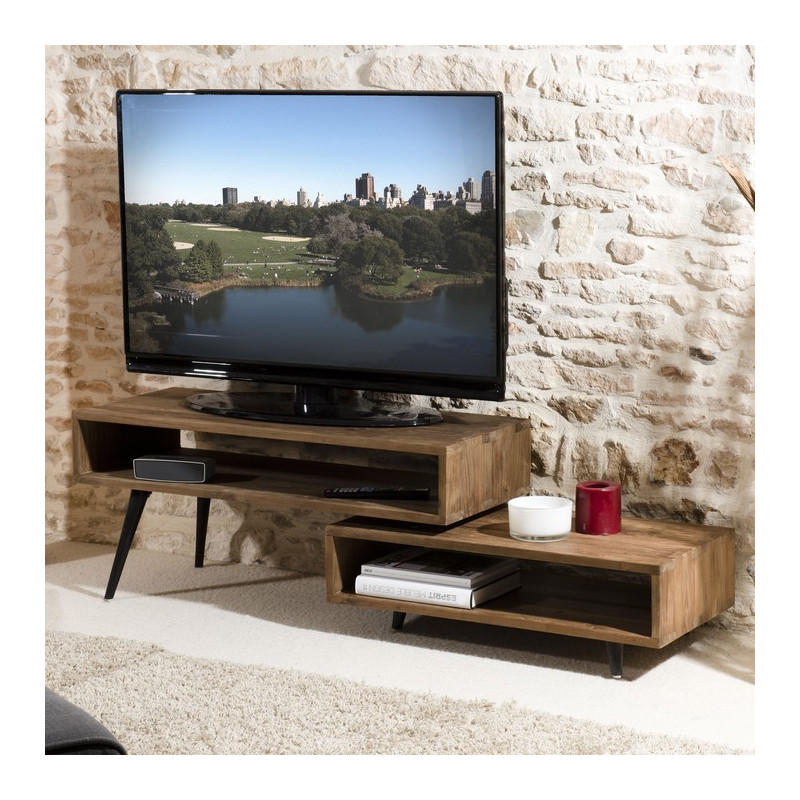 meuble tv rotatif bois teck pieds bois 100x40 tinesixe so inside. Black Bedroom Furniture Sets. Home Design Ideas