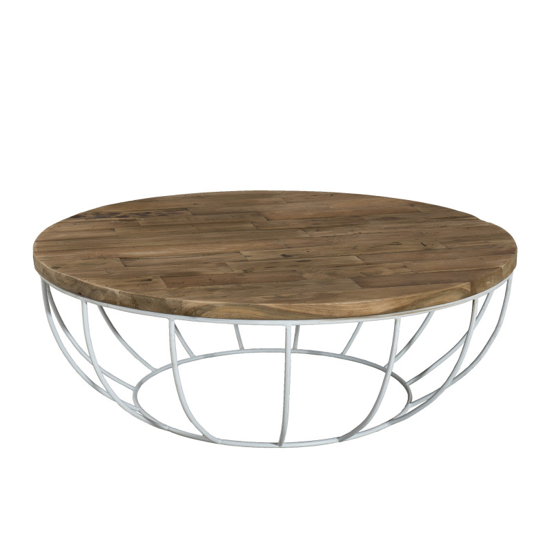 table basse ronde bois pied blanc 100cm tinesixe so inside. Black Bedroom Furniture Sets. Home Design Ideas