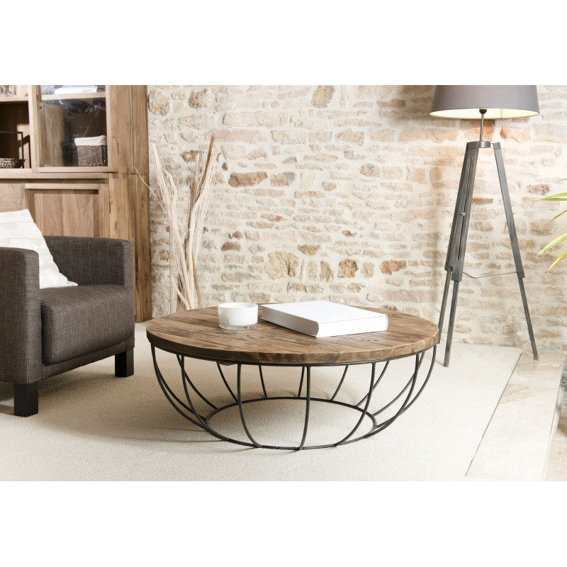 table basse ronde bois et m tal noir 100cm tinesixe so. Black Bedroom Furniture Sets. Home Design Ideas
