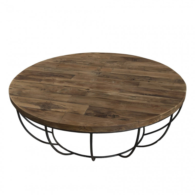 table basse ronde en bois et m tal noir d couvrir pour. Black Bedroom Furniture Sets. Home Design Ideas