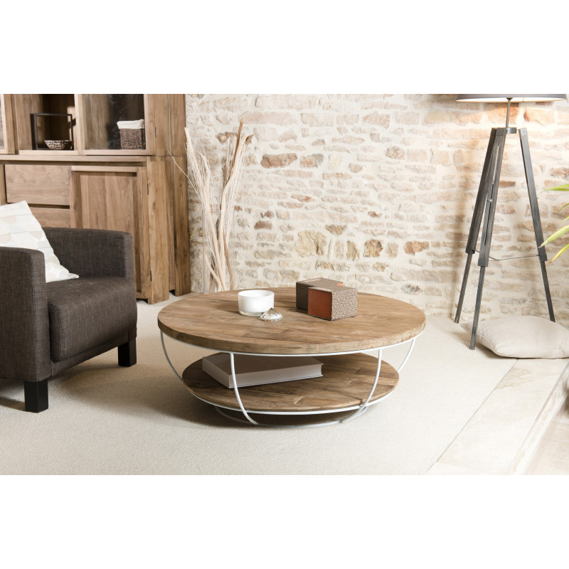 table basse ronde bois et m tal blanc 100cm tinesixe. Black Bedroom Furniture Sets. Home Design Ideas