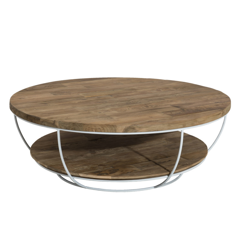 Table basse ronde bois et m tal blanc 100cmtinesixe so for Table basse ronde blanc