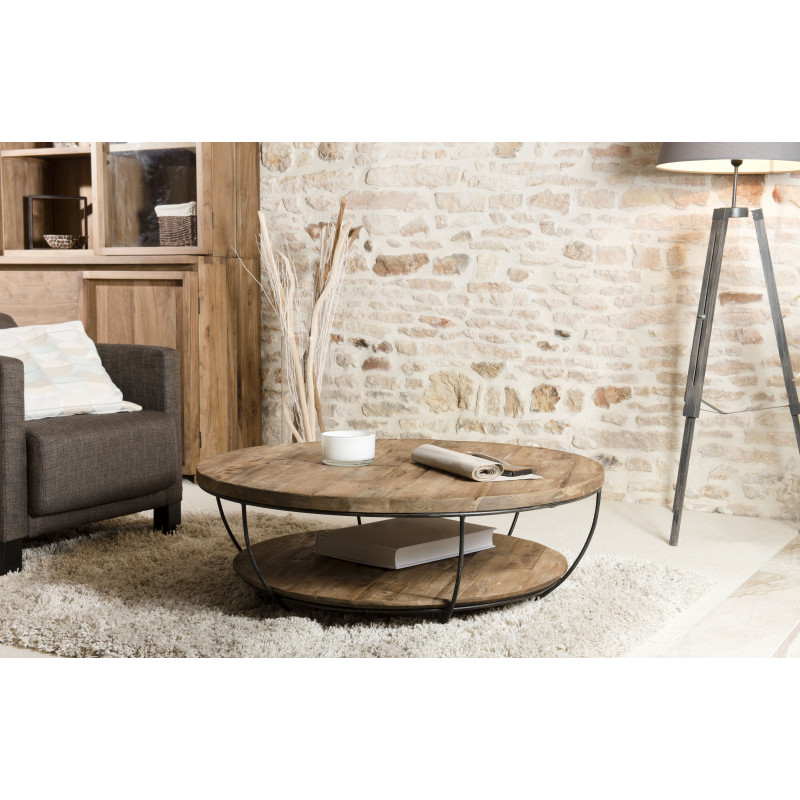 table basse ronde noire double plateau 100cm tinesixe so. Black Bedroom Furniture Sets. Home Design Ideas