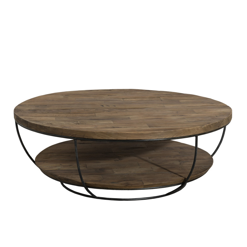 Table basse ronde noire double plateau 100cm tinesixe so for Table basse salon ronde ou ovale