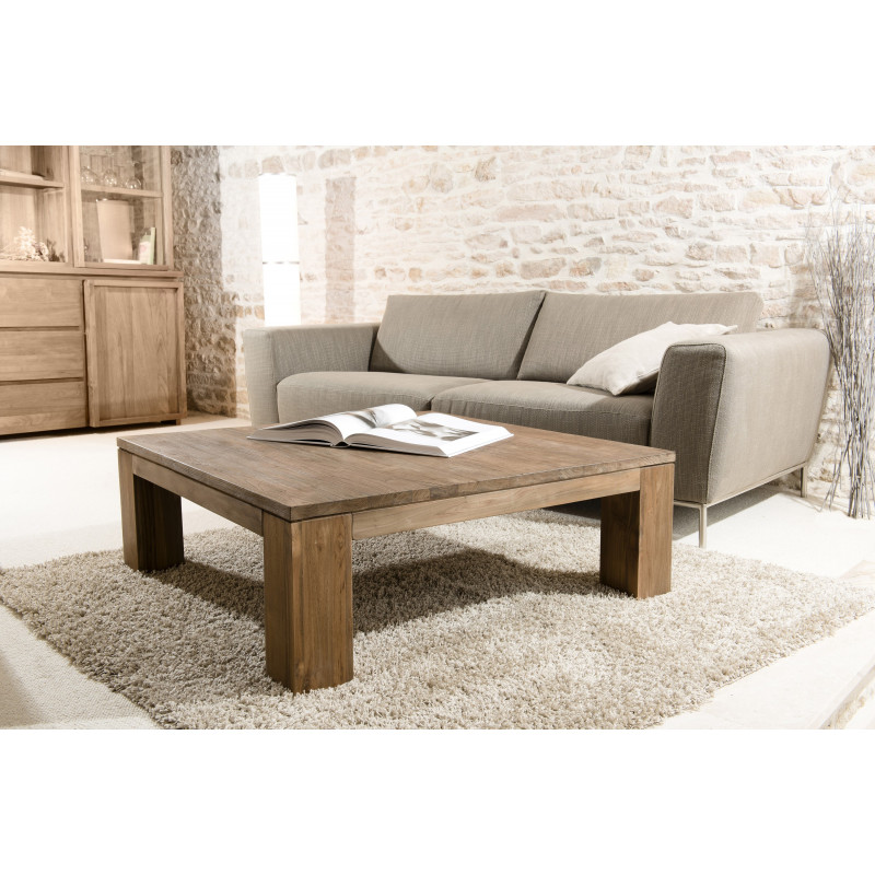 Table basse carr e 100cm bois massif tinesixe so inside - Table basse carree en bois ...