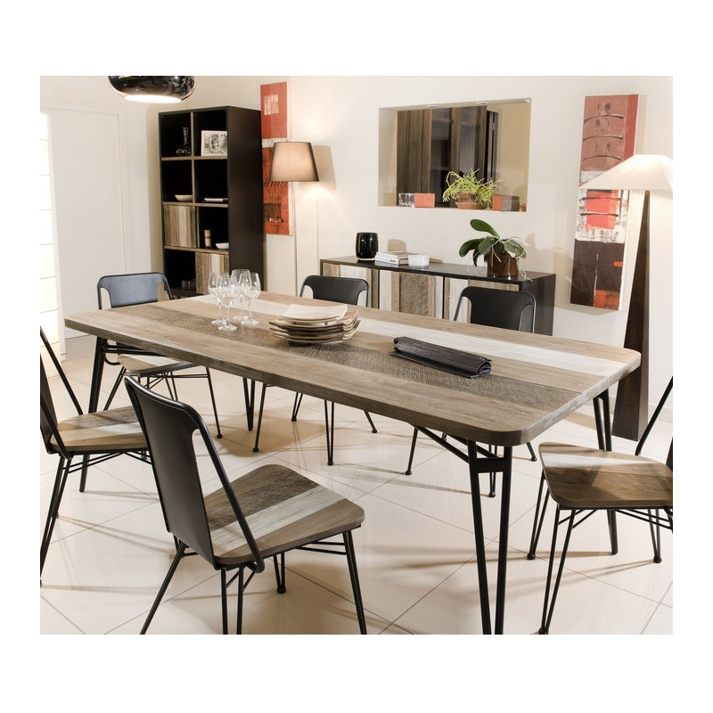 table manger bois massif et m tal 200x100cm alice so. Black Bedroom Furniture Sets. Home Design Ideas