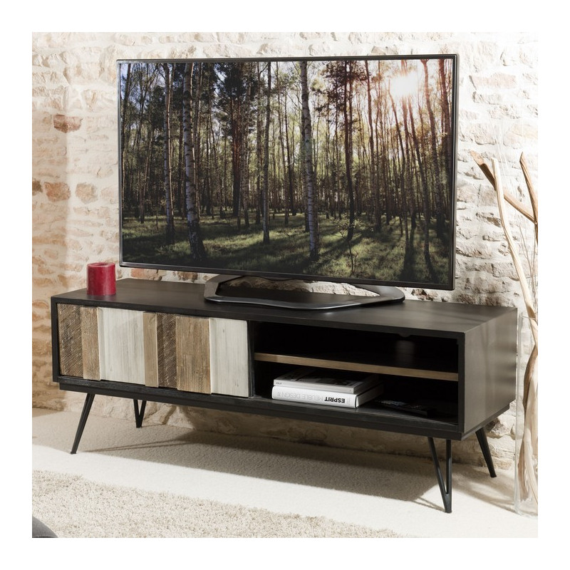 meuble tv industriel bois massif et m tal noir alice so inside. Black Bedroom Furniture Sets. Home Design Ideas