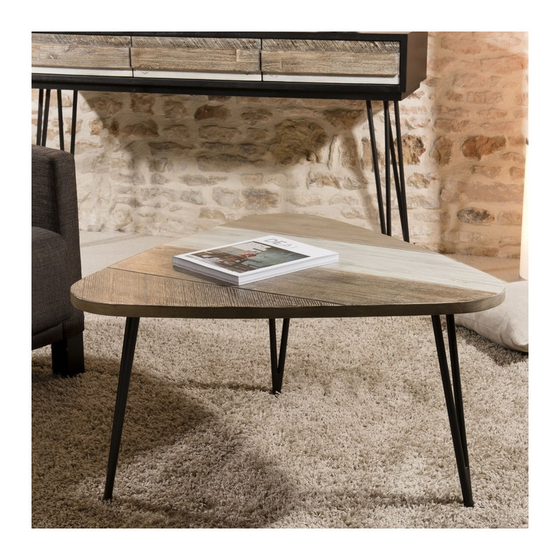Table Basse Bois Massif 85x46 5cm Alice