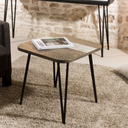Table d'appoint industrielle acacia 50x50cm Alice