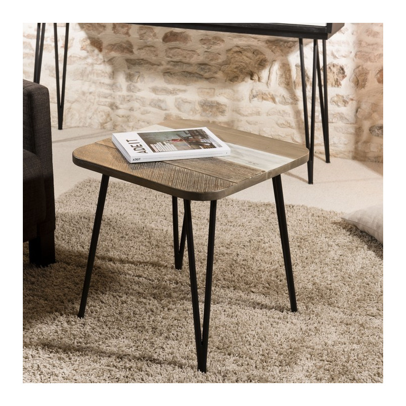 table d 39 appoint industrielle acacia 50x50cm alice so inside. Black Bedroom Furniture Sets. Home Design Ideas