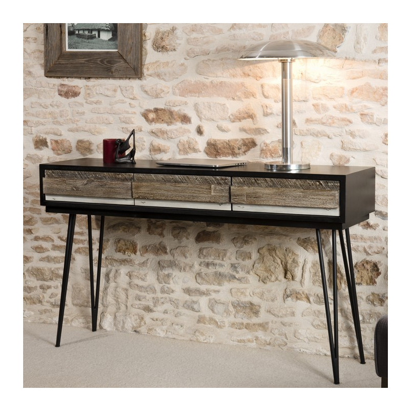 Console industrielle acacia 3 tiroirs alice so inside for Console industrielle