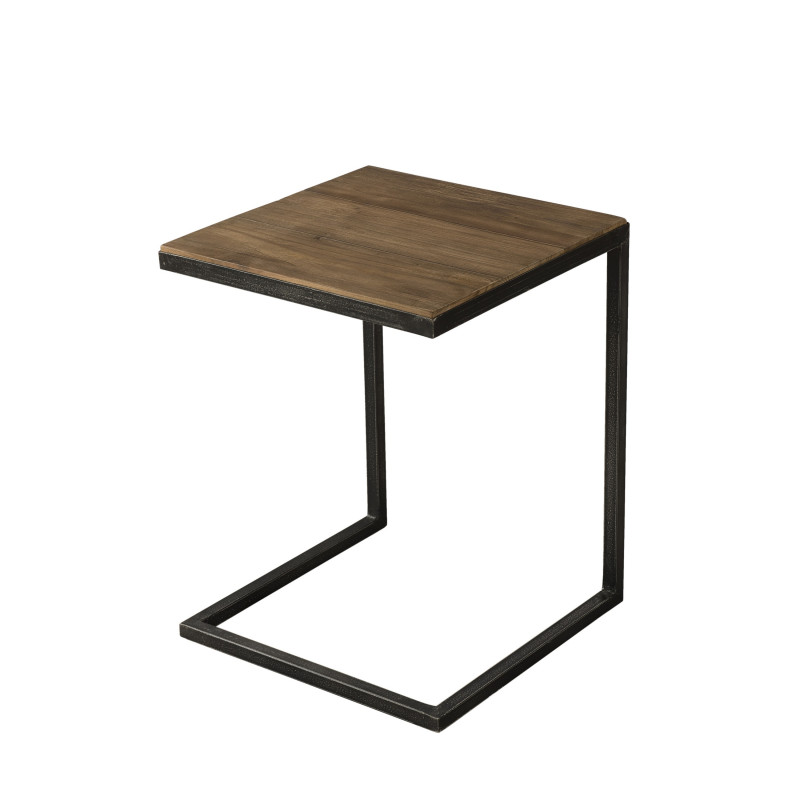 table d 39 appoint bois teck pieds m tal 40x40cm tinesixe so inside. Black Bedroom Furniture Sets. Home Design Ideas