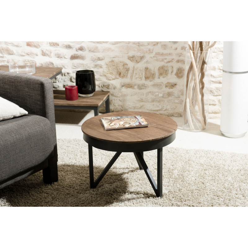 table basse ronde 50cm bois teck pieds m tal tinesixe so. Black Bedroom Furniture Sets. Home Design Ideas