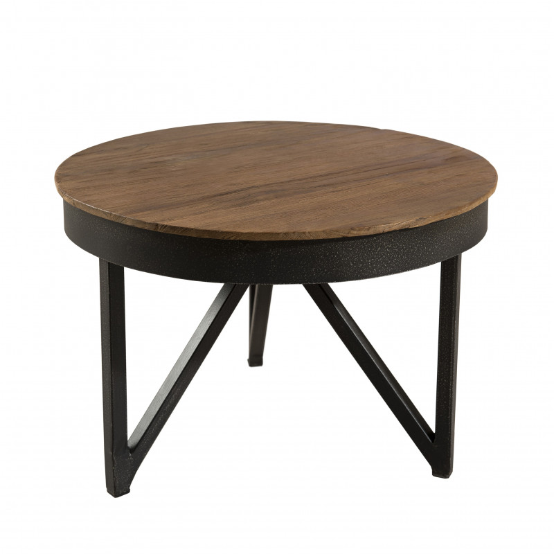 table basse ronde 50cm bois teck pieds m tal tinesixe so inside. Black Bedroom Furniture Sets. Home Design Ideas