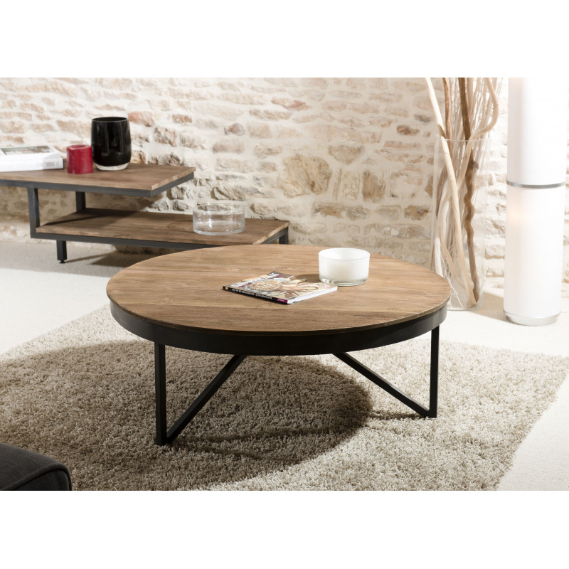 Table basse ronde 90cm bois teck pieds m tal tinesixe so for Table basse bois teck