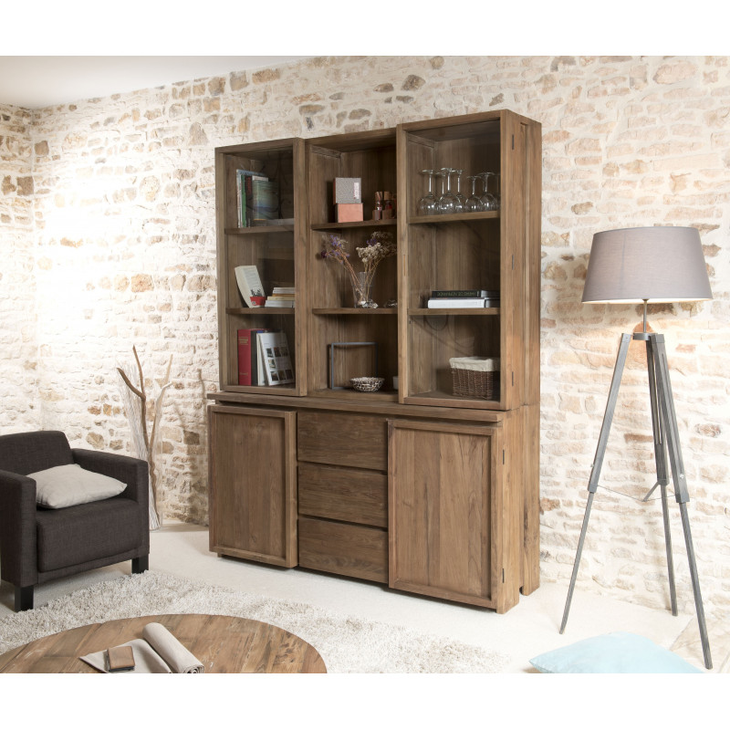 vitrine vaisselier 4 portes 3 tiroirs bois massif tinesixe so inside. Black Bedroom Furniture Sets. Home Design Ideas