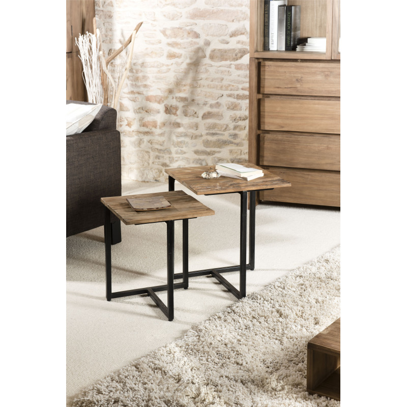 table gigogne bois teck 40x40 et 35x35 tinesixe. Black Bedroom Furniture Sets. Home Design Ideas
