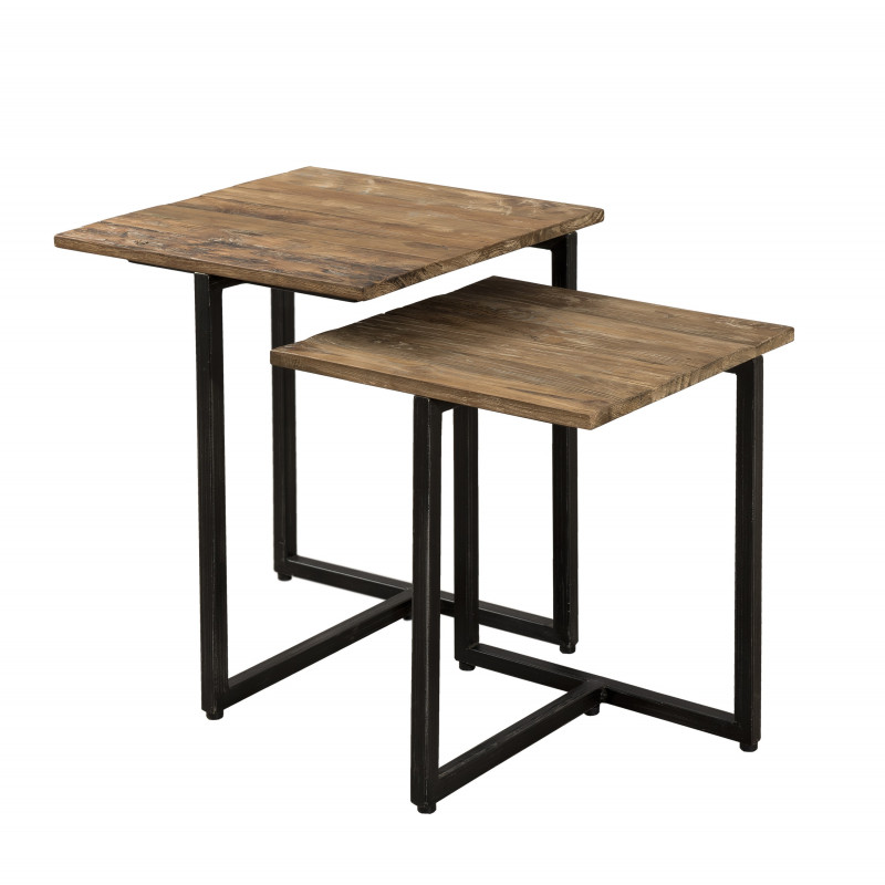 Table gigogne bois teck 40x40 et 35x35 tinesixe for Achat table bar