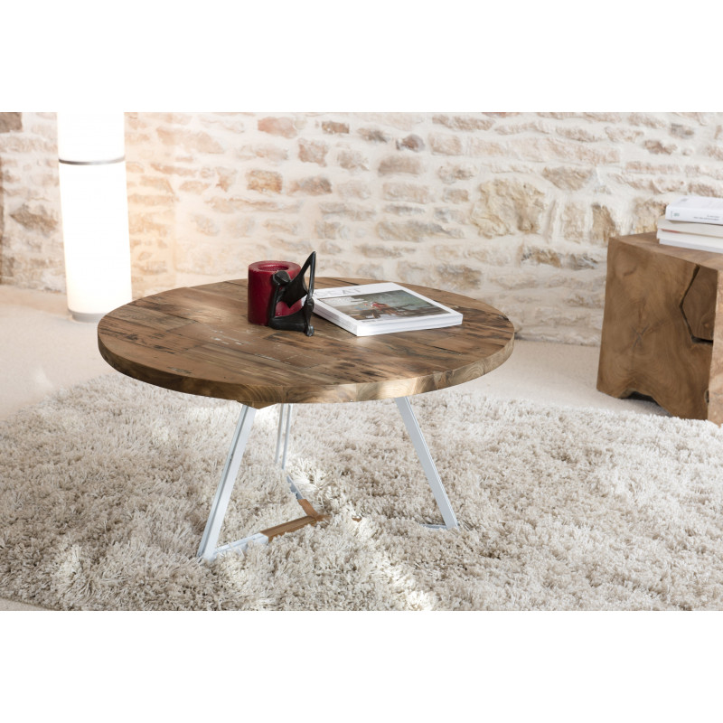 table basse ronde blanche 75x75cm bois teck tinesixe. Black Bedroom Furniture Sets. Home Design Ideas