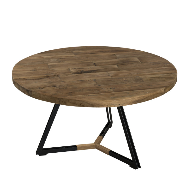 Table basse ronde noire 75x75cm tinesixe - Table basse metal ronde ...