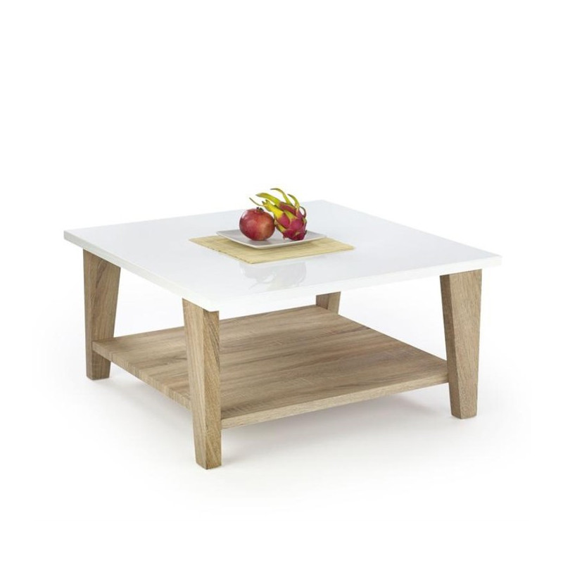 Table basse scandinave blanc laqu bois anika tables - Table basse carre bois ...