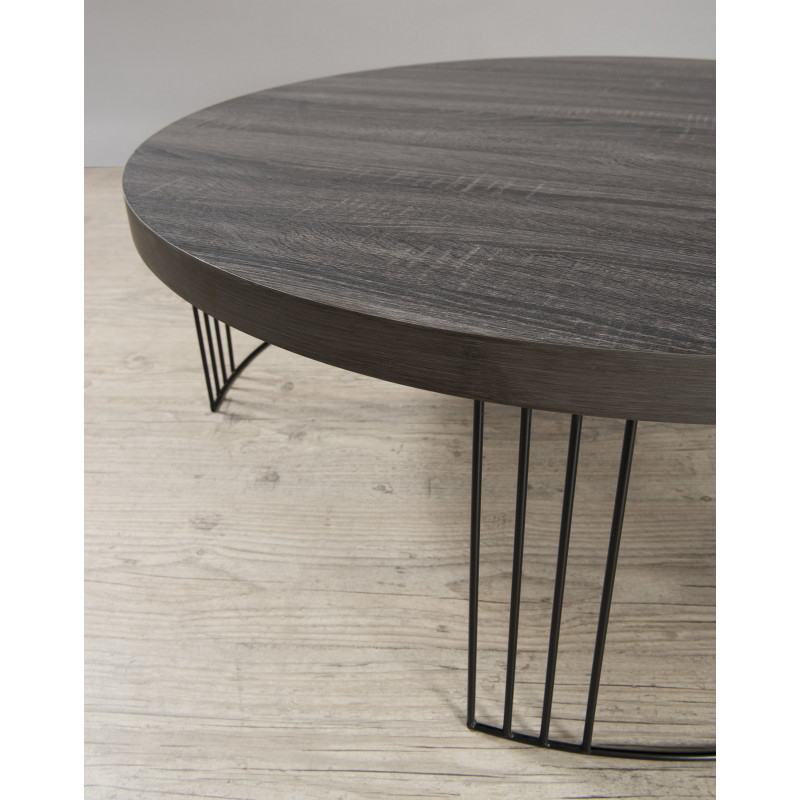 Table basse ronde couleur ch ne pieds m tal 95cm sveg so for Table basse chene metal