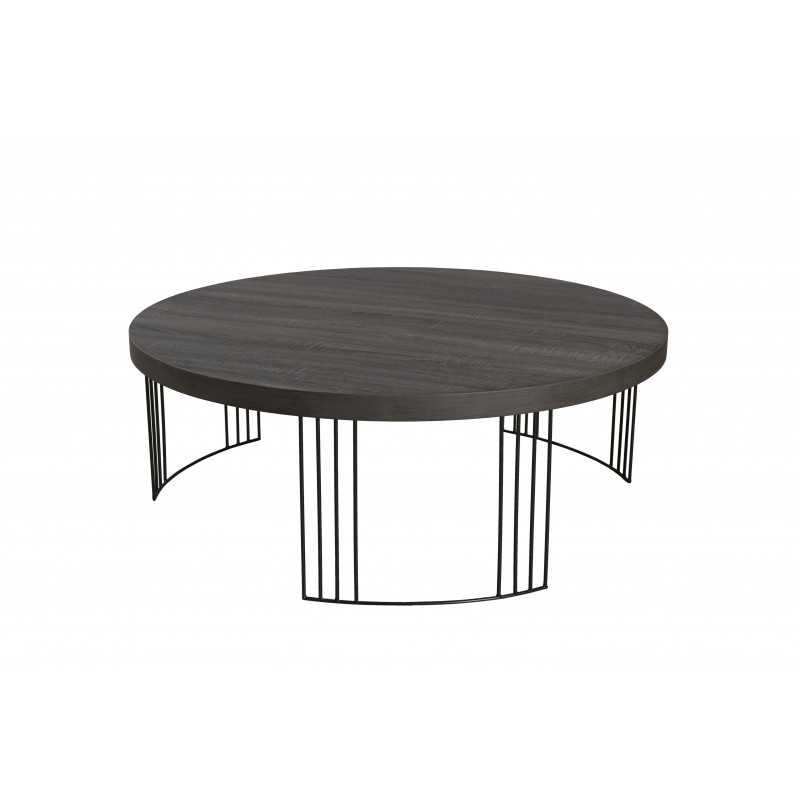 Table Basse Ronde Couleur Ch Ne Pieds M Tal 95cm Sveg So