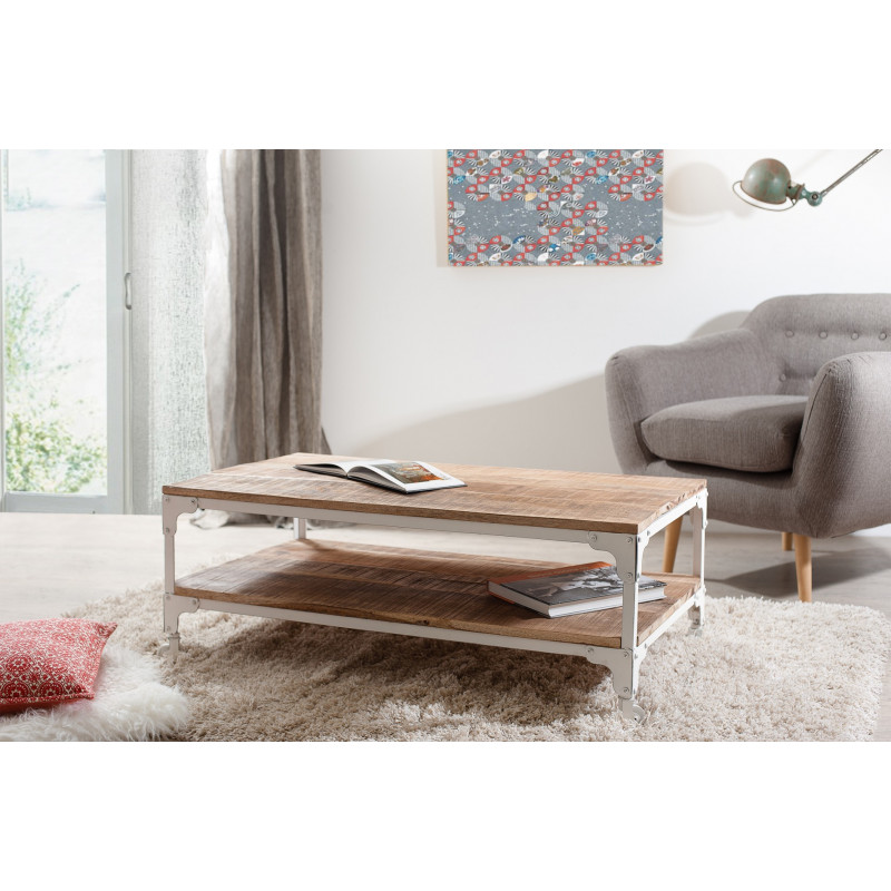Table Basse Industrielle Bois Massif Et Metal Blanc Maga So Inside