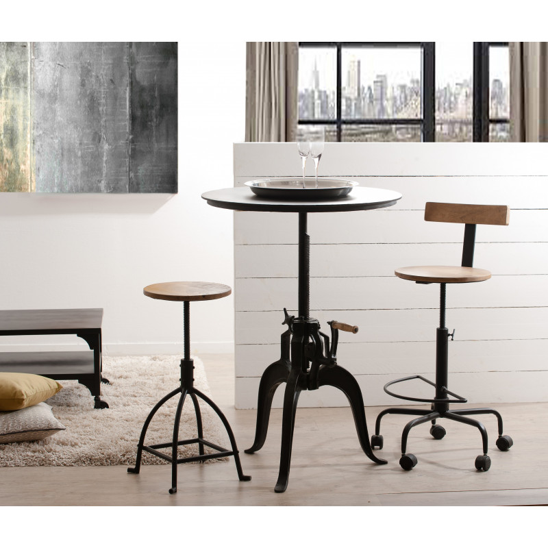 table haute ronde de bar industrielle maga so inside. Black Bedroom Furniture Sets. Home Design Ideas