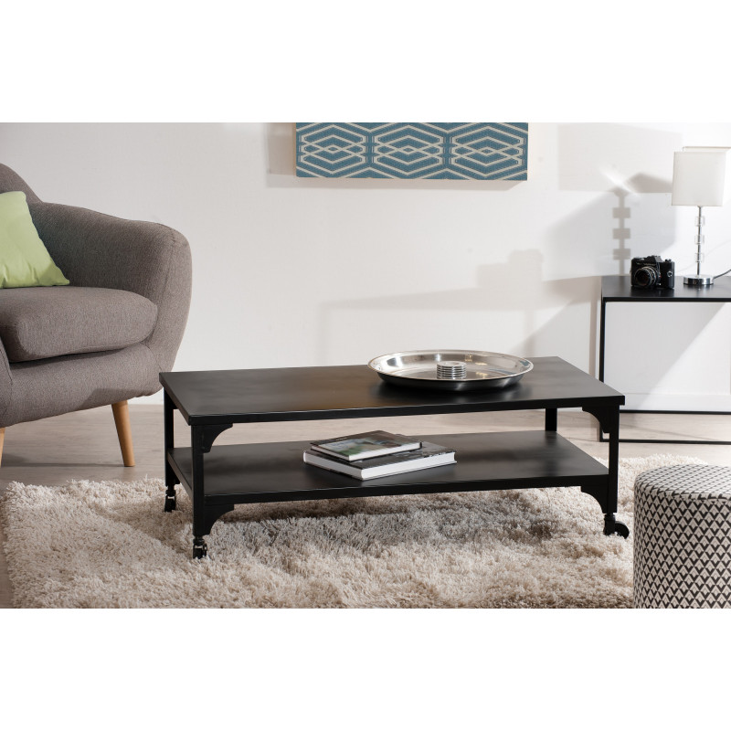 table basse industrielle double plateau avec roulettes 110x55 maga so inside. Black Bedroom Furniture Sets. Home Design Ideas